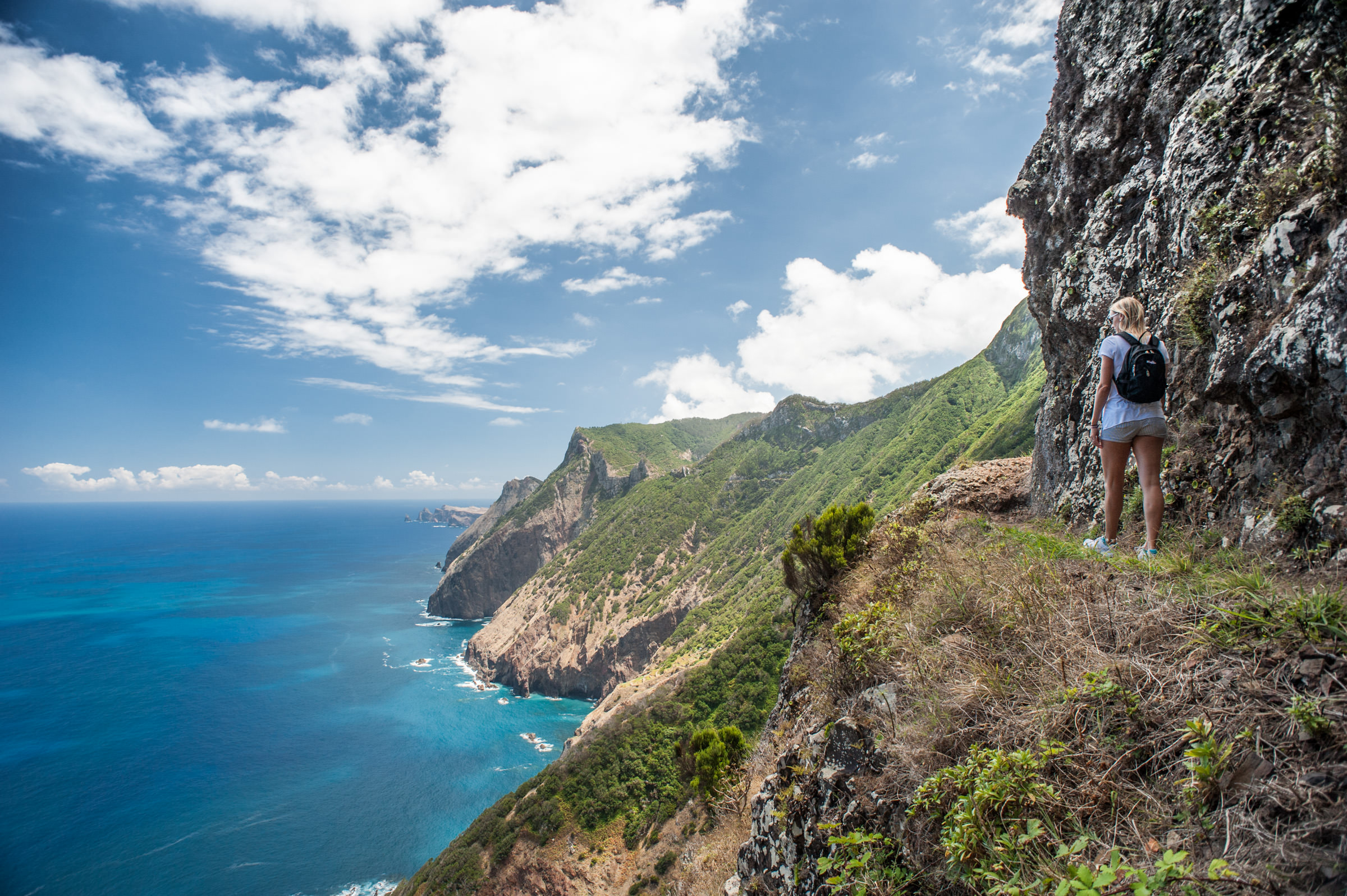 a vertiginous hike from Porto da Cruz to Machico, with the cliffs and sea below